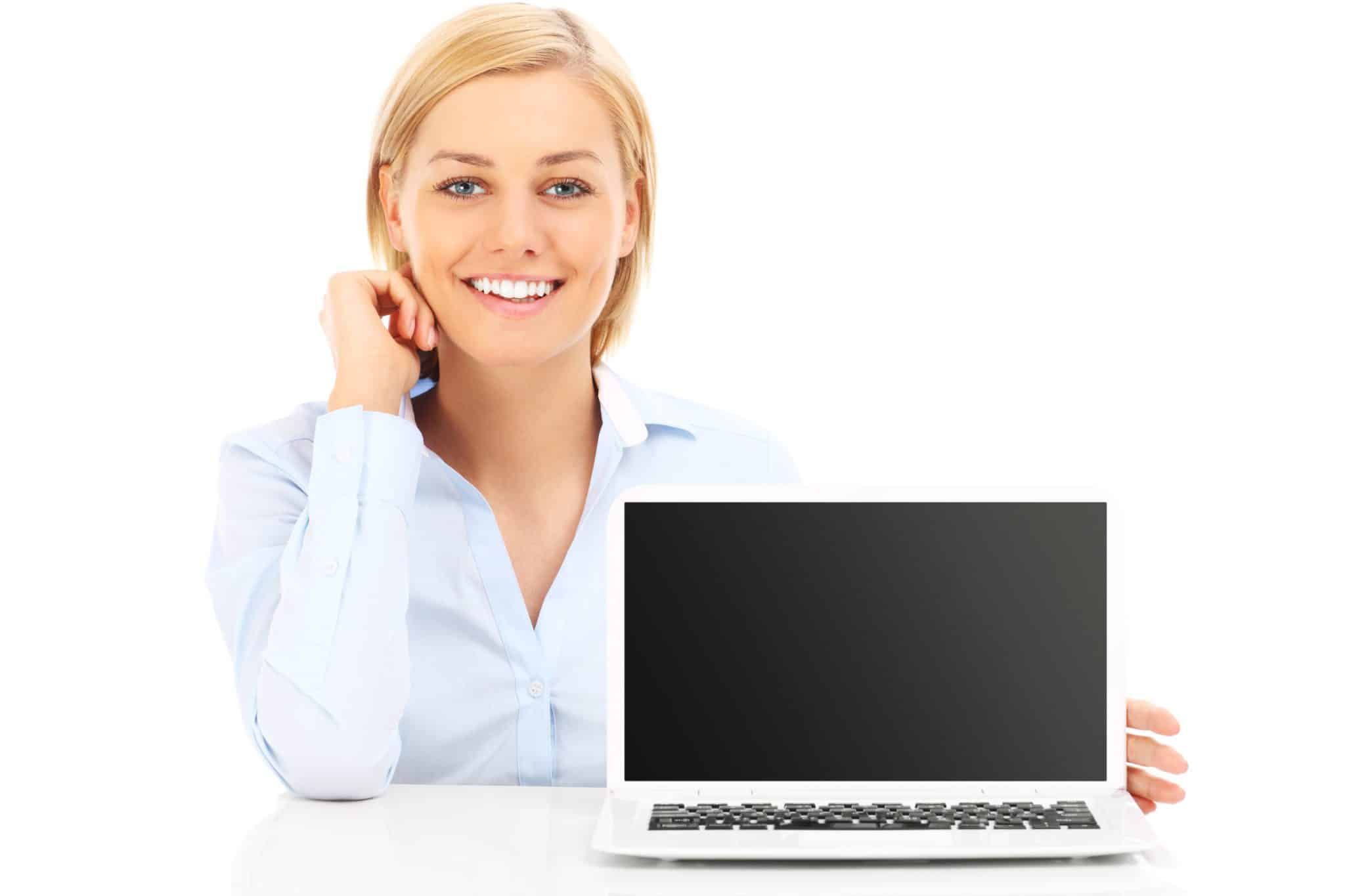 Photo of a female online worker smiling