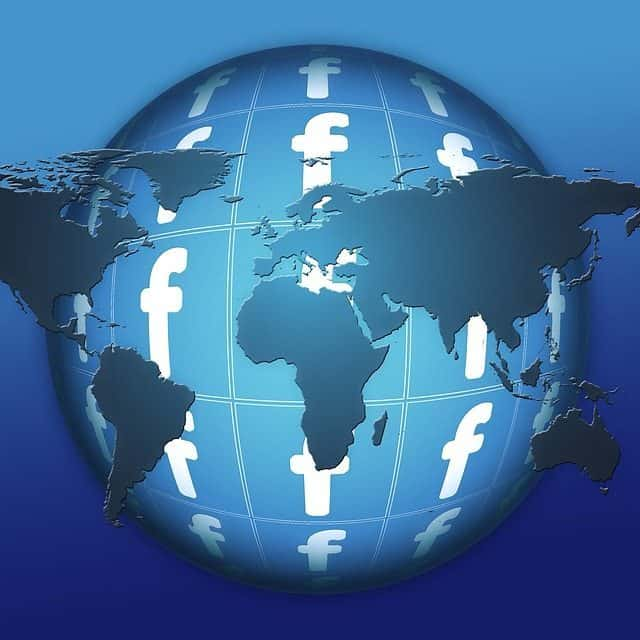 Picture of a globe with Facebook logo