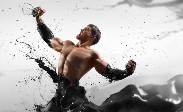 Oil and gas marketing agency rockstar, illustration of a muscular man emerging from a lake of oil