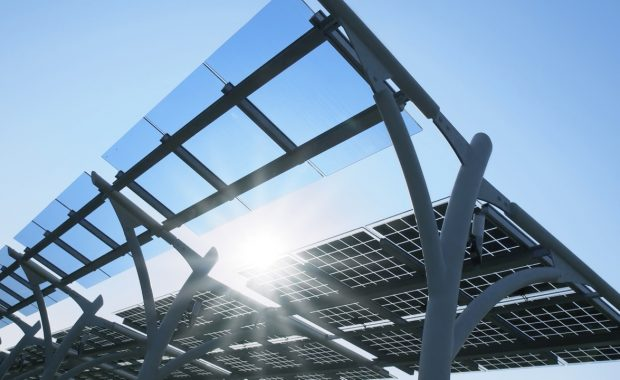 Hi-tech solar energy marketing photo of panels on elevated stands