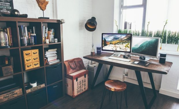 A comfy home office - a balanced setting for jobs that can be done from home.