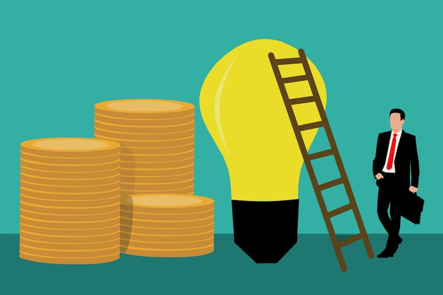 Graphic illustration of great ideas for business. A mani in a suit with a ladder against a light bulb with money on the other side.